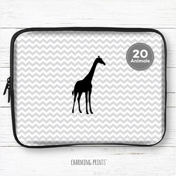 Custom giraffe laptop sleeve, macbook, pro, air, hp, dell, sony, 10, 11, 12, 13, 14, 15, 15.6, 17, personalized, case, chevron, black