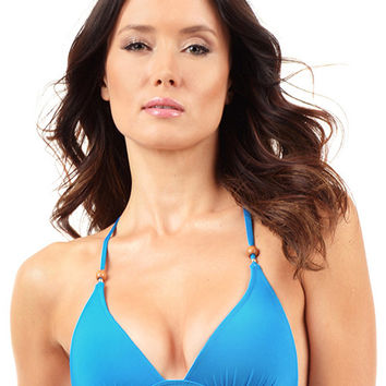 Voda Swim Envy Push Up Razor Back String Bikini Top in Cerulean