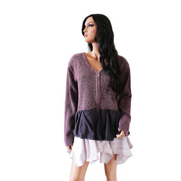 Purple Cardigan, Upcycled Clothing, Lagenlook Mori Girl Layered Cardigan in Shades of Purple, Recycled Repurposed Boho, Large XL Extra Large
