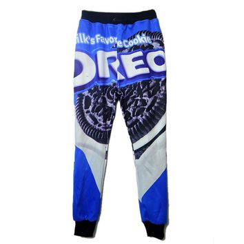 Spring Autumn mens Clothing  Hip Hop Dance trousers black cookies Creative Print casual mens joggers pants