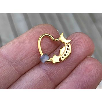 Gold Moon Star Spaceship Daith Hoop Ring Rook Hoop Cartilage Helix Tragus