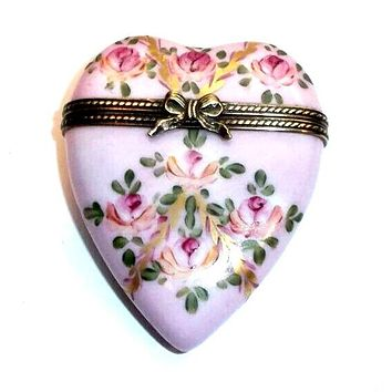 Pink Heart w Flowers Limoges Box