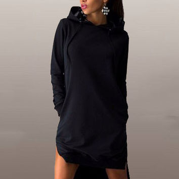 Irregular Hem Long in Back Short in Front Long Sleeve Hooded Slit Dress