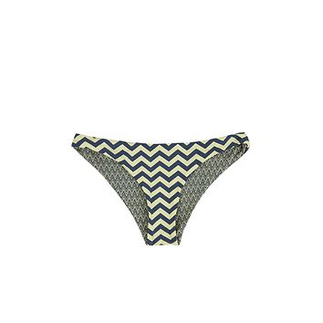 Reversible Hipster Cheeky Bikini Bottom - Yellow & Gray Chevron Print