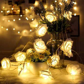 Battery Operated 1M/2M/3M/4M/5M/10M LED Rose Flower Garland Christmas Holiday String Lights For Valentine Wedding Decoration