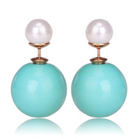 Gum Tee Mise en Style Tribal Earrings - Pastel Jade Green and White
