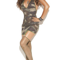Camo Mini Dress with Garters