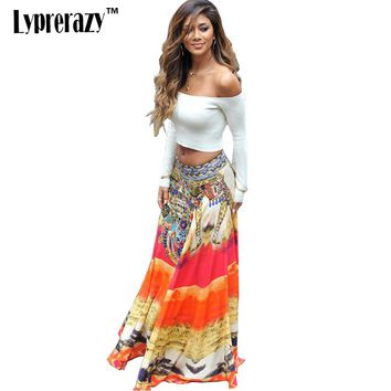 2017 Summer Style Womens boho dress with top Off Shoulder Floral Print Two Piece Maxi Spaghetti Strap Vestidos Plus Size dresses