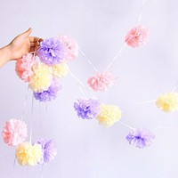 Fonder Mols 6pcs 8'' 10'' and 14'' Mixed Size Purple and Turqoise Tissue Pom Poms Paper Flower Wedding Bridal Shower Party Fluffy Decoration