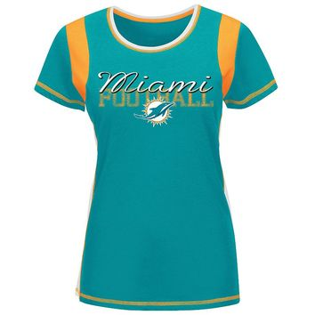 Majestic Miami Dolphins Pride Playing V Colorblock Tee - Women's Plus, Size: