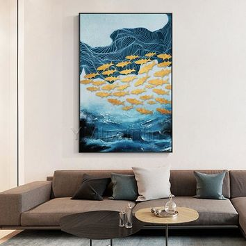 Gold art Navy Blue modern Abstract acrylic Ocean fishes Paintings on canvas Original Wall Art large painting cuadros abstractos hand painted