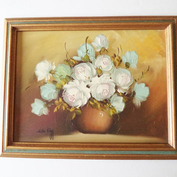 Vintage Oil On Canvas Hilda Clegg Painting Roses White Aqua Mint Framed Home Decor Wall Art Signed