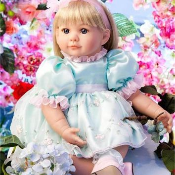 """Pursue 22""""/56 cm Princess Girl Doll Baby Real Silicone Baby Reborn Toddler Dolls Children Girls Toys Play Holiday Christmas Gift"""