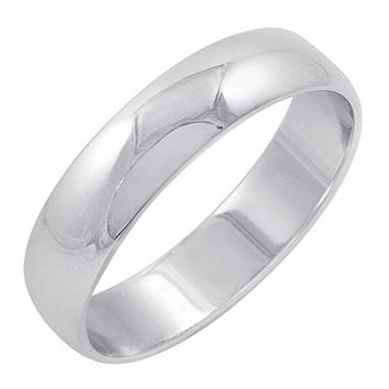 Men's 14K White Gold 5mm Traditional Plain Wedding Band (Available Ring Sizes 8-12 1/2)