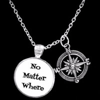 No Matter Where Compass Long Distance Best Friends Sisters Gift Necklace