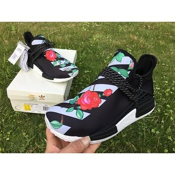 ADIDAS X BAPE PW HUMAN RACE NMD_R1 BB0622 BOOST BLACK-GREEN-ROSE Running shoes for Wom