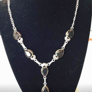 Black onyx sterling silver necklace