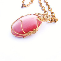 Wire Wrapped Cats Eye Pendant and Necklace