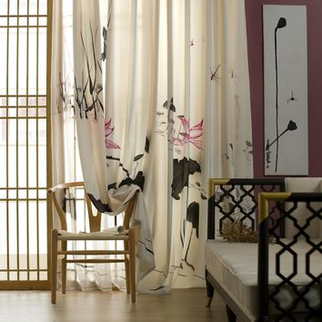 R17 Two layers Ink Lotus Window Curtain Panel (Solid/Sheer)