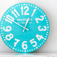 Vintage clock -Bruxelles turquoise- pseudo vintage birch clock hand painted happy fresh turqouise color