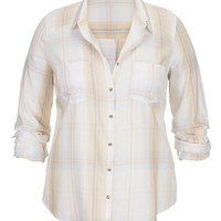 Plus Size - Plaid Button Down With Marbled Buttons - Beige