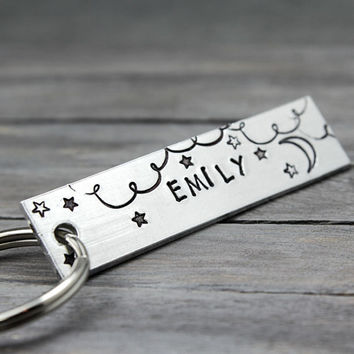 Name Key Ring, Stars KeyChain, Moon Key ChainPersonalized Key Ring, Personalized Gift Idea, Custom Keyring, personalized keyring
