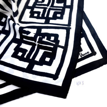 """Vintage Vera Scarf,Black and White Scarf,26"""" x 10"""" Oblong Scarf,Vera Neumann Scarf,Vintage Scarf,Long Rectangular Scarf,Trending Accessories"""