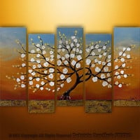 Abstract Modern Landscape Tree Asian Art by Gabriela 50x30 Large, texture