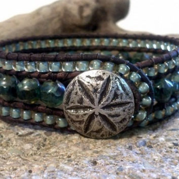 Beaded Leather Cuff Bracelet, Picasso Blue, Sand Dollar Button, Chan Luu Inspired, PZW070