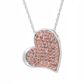 .925 Sterling Silver Heart Necklace with Swarovski Crystals