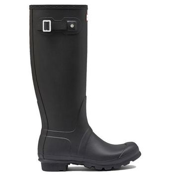 Hunter Original Tall   Flat Black Rain Boot