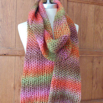 Multicolor Ombre Scarf Chunky Knit, Winter Scarf, Cold Weather Fashion Knitwear with Pink, Brown, Orange,