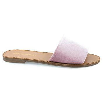 sadie24 Pink By Breckelle's, women s simple flat slide in slippers open toe sandal in suede velvet
