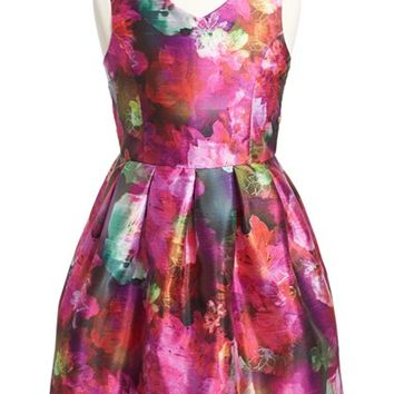 Girl's Pippa & Julie Floral Shantung Dress,