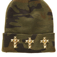 Harlett The Studded Cross Beanie in Camo : Karmaloop.com - Global Concrete Culture