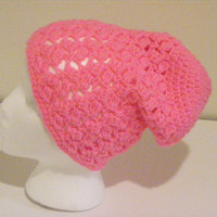 Neon Hot Pink Extra Baggie/ Slouch Beanie for Lots of Hair Made with shell stitch for Women. Pick your color!
