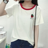 Fashion letters Strawberry Print t-shirts