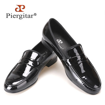 Classic Designed Black Patent Leather handmade Shoes Men Party and Wedding Loafers Men Flats Size