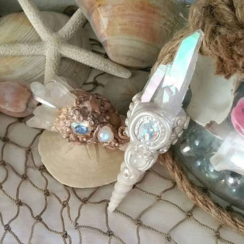 High quality angel aura mermaid scepter//crystal wand//shell wand/home decor//altar//quartz//gifts for her