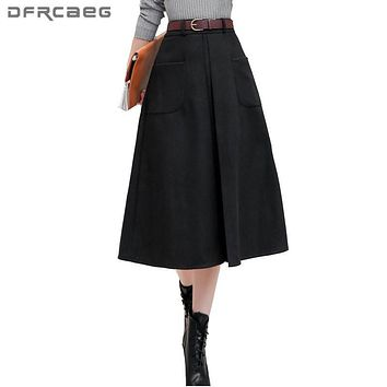 Warm Wool Skirt Women 2017 Winter High Waist A-Line Skirt With Pocket Vintage Fashion Ladies Black Wine Red Saia Longa Feminina