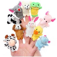 10PCS/Set Kawaii Plush Cartoon Animal Mini Finger Puppet Baby Birthday Christmas Party Favors Hand Finger Puppets Game Gifts