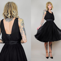 Black 50's Silk CHIFFON Satin Open back Party Dress BOMBSHELL accordion pleat COCKTAIL xs