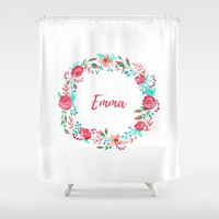 Personalized Shower Curtain For Kids, Girls Bathroom Decor,  Custom Name Art, Bath Room Decor, Pink Bathroom Shower Curtains, Bath Curtain