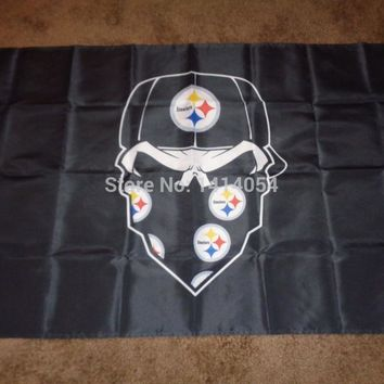 Pittsburgh Steelers  Skull mask  Flag  Flag 150X90CM Banner 100D Polyester flag brass grommets 001, free shipping