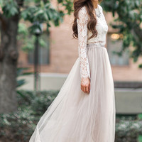 Sophie Taupe Tulle Maxi Skirt