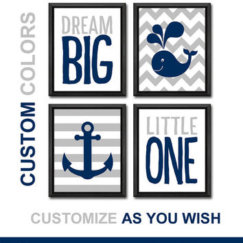 navy and gray nursery baby boy nautical kids room decor dream big quote grey chevron baby wall decor whale anchor boy nursery boys gift