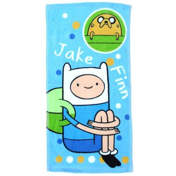 Adventure Time Finn and Jake Print Handkerchief Cotton Towel in Light Blue