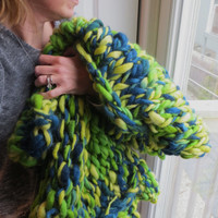 Super Chunky Hand Knit Wool Lap Blanket Throw