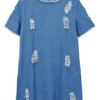 Casual Women Hollow Out Short Sleeve Loose Straight Mini Denim Dress