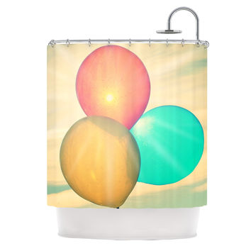 "Robin Dickinson ""Balloons"" Tan Clouds Shower Curtain"